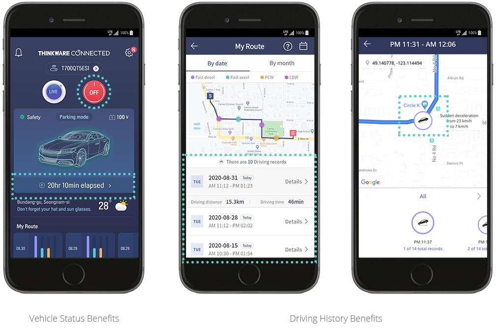 app thinkware connected LTE storico funzioni di guida