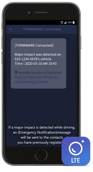 immagine app thinkware T700 rilevamento impatto